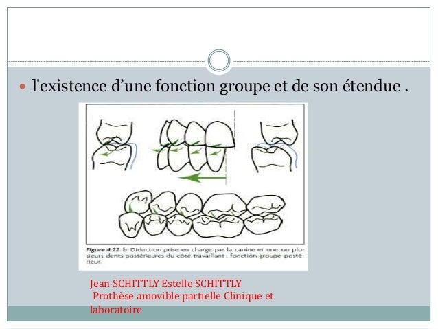  l'existence d'une fonction groupe et de son étendue . Jean SCHITTLY Estelle SCHITTLY Prothèse amovible partielle Cliniqu...