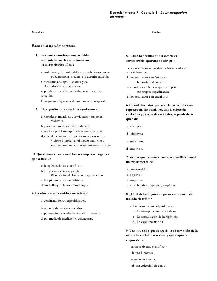 Descubrimiento 7 - Capitulo 1 - La investigación                                                              científica  ...