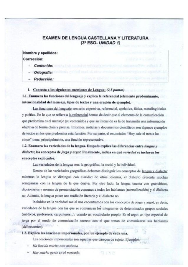 EXAMEN DE LENGUA CASTELLANA Y LITERATURA  (3° ESO- UNIDAD 1)  Nombre y apellidos:   Corrección:  - Contenido:  - Ortografí...