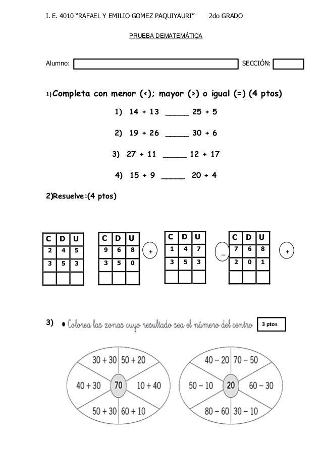 EXÁMENES DE PROCESO de 1er a 6to grado de primaria 2013 I.E. 4010