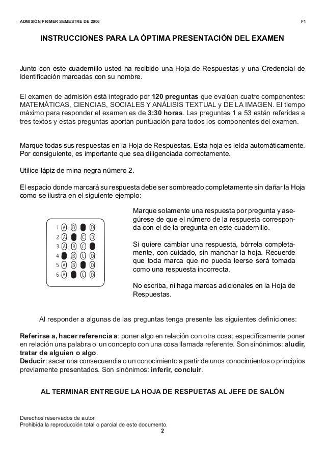 Universidad Nacional De Colombia Examen De Admision 2006 1