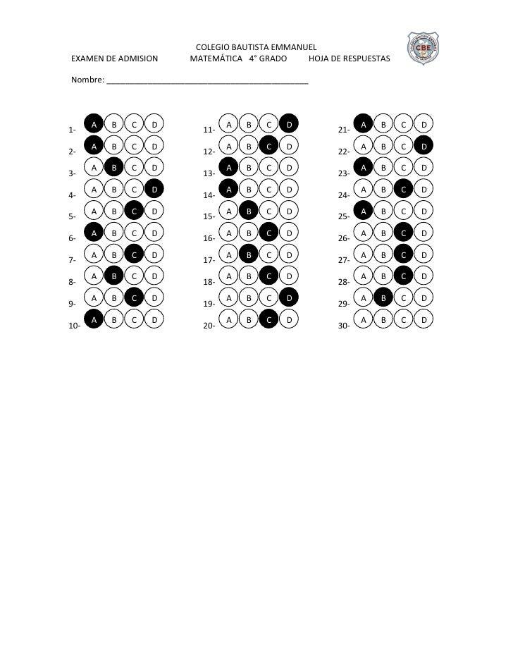 Examen de admision cuarto matematica