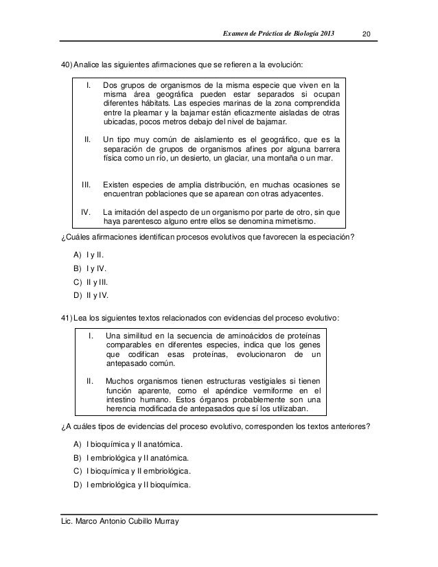 Examen de biología de práctica con solucionario 2013
