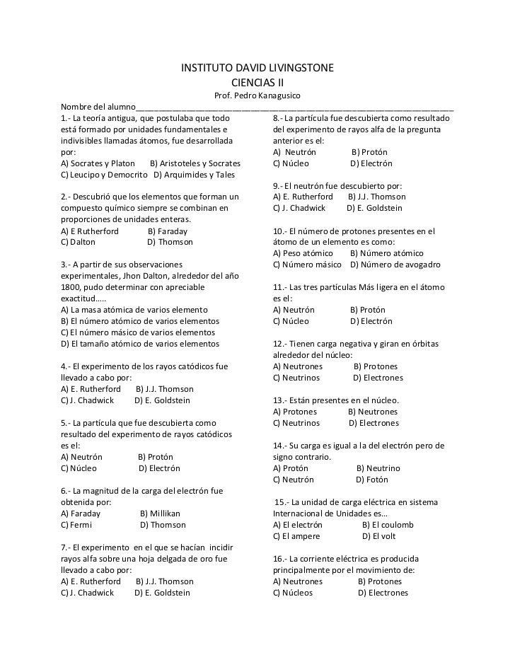 INSTITUTO DAVID LIVINGSTONE                                         CIENCIAS II                                           ...