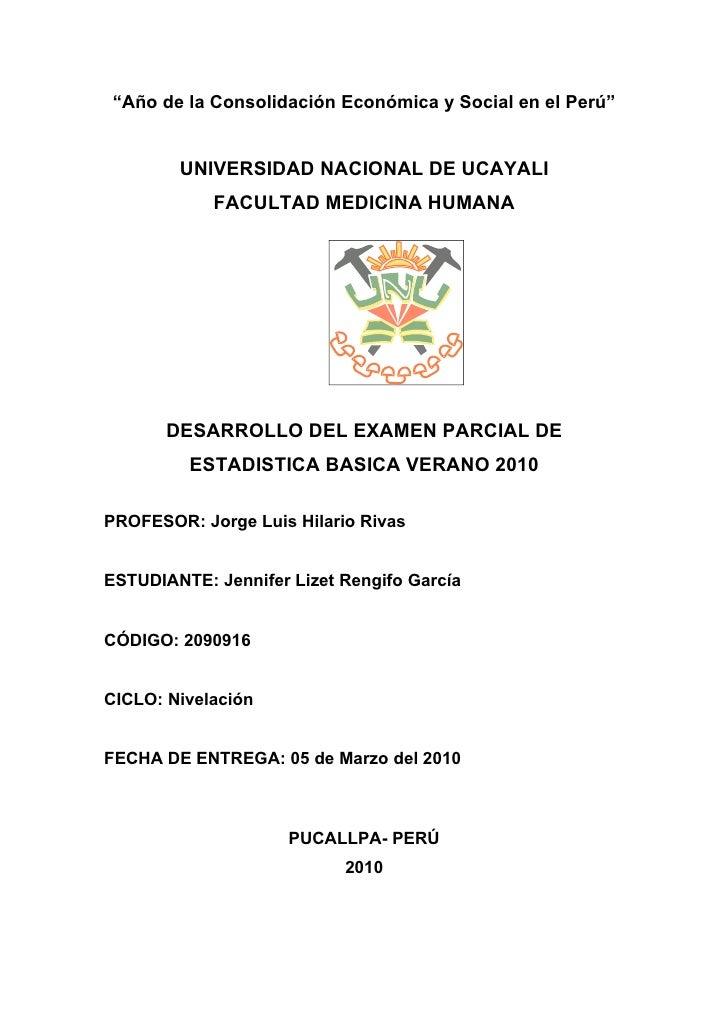 """""""Año de la Consolidación Económica y Social en el Perú""""           UNIVERSIDAD NACIONAL DE UCAYALI             FACULTAD MED..."""