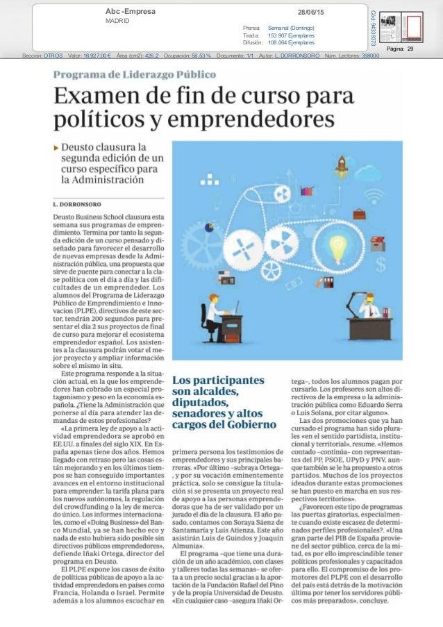 28/06/15Abc -Empresa MADRID Prensa: Semanal (Domingo) Tirada: 153.907 Ejemplares Difusión: 108.064 Ejemplares Página: 29 S...
