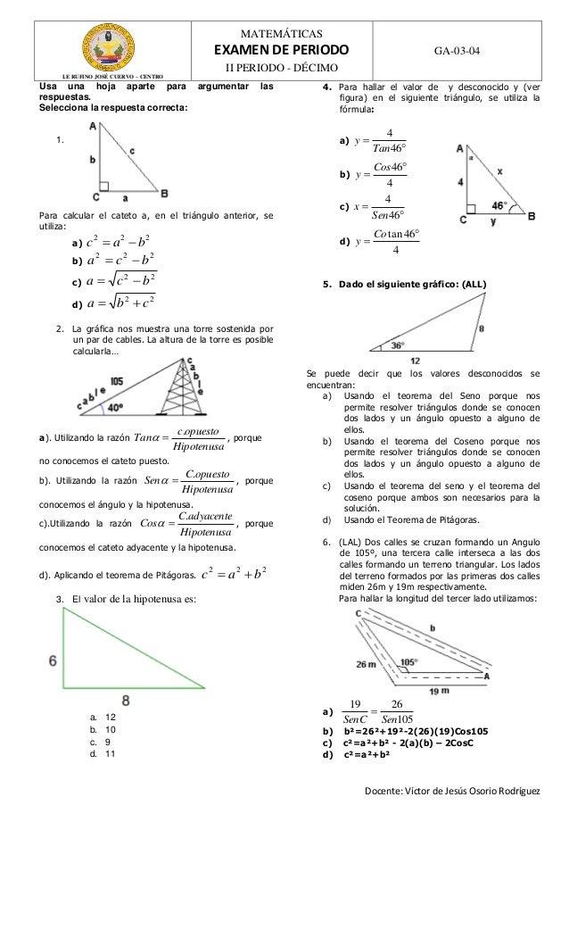 Examen de ii periodo 10°