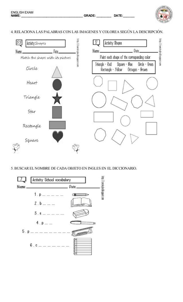 Examen de inglés 6o