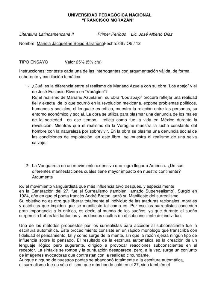 """UNIVERSIDAD PEDAGÓGICA NACIONAL                               """"FRANCISCO MORAZÁN""""Literatura Latinoamericana II            ..."""