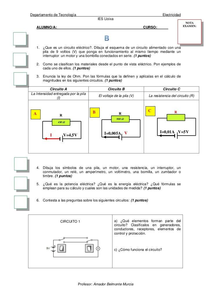 Circuito Que Tenga Un Interruptor Una Pila Y Una Bombilla : Examen del tema de electricidad