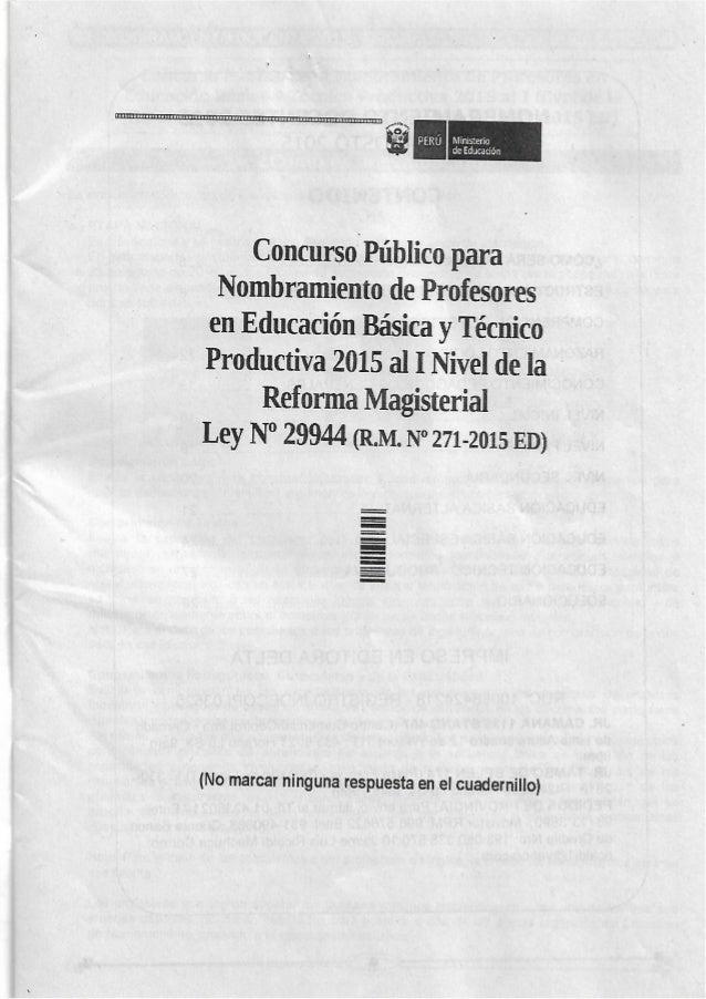 Examen de nombramiento docente agosto 2015 tecnico productivo