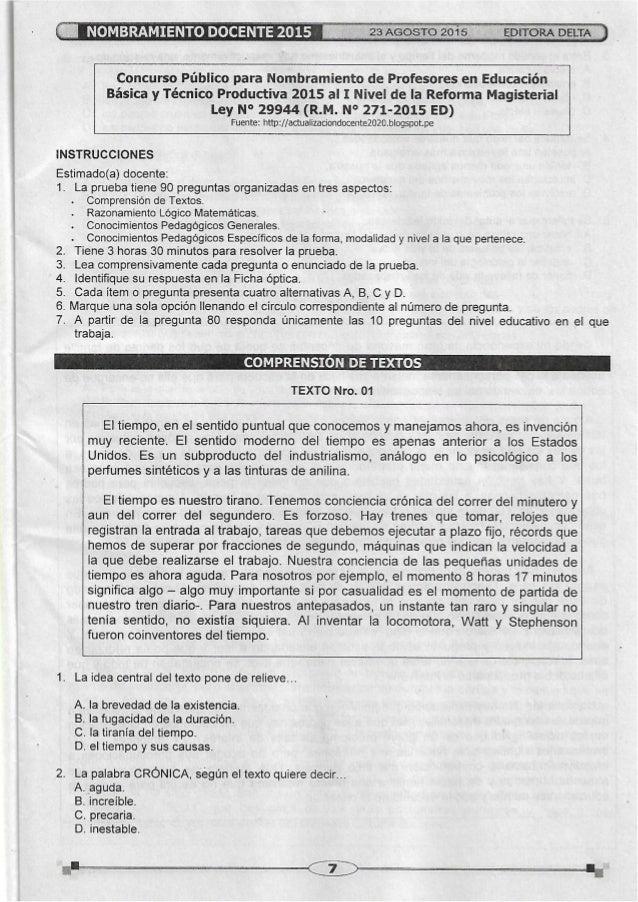 Examen de nombramiento docente agosto 2015 tecnico productivo Slide 3