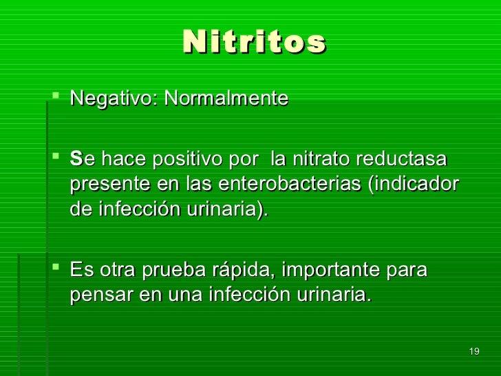 Nitritos Negativo: Normalmente Se hace positivo por la nitrato reductasa  presente en las enterobacterias (indicador  de...