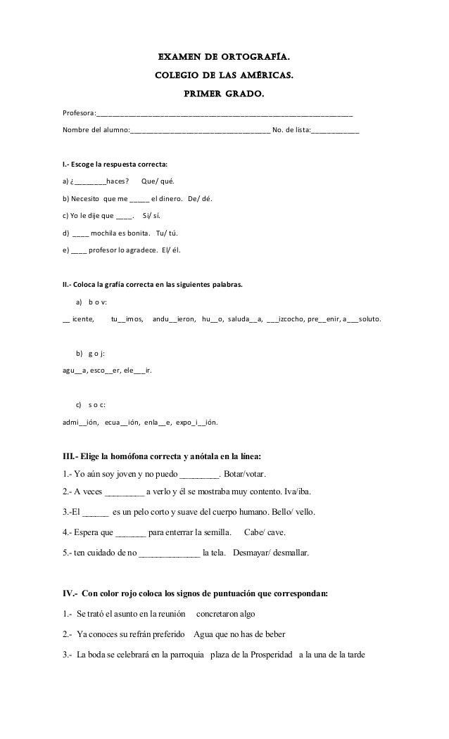 Examen De Ortograf U00eda 1