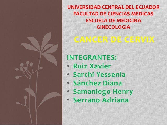 CANCER DE CERVIX INTEGRANTES: • Ruiz Xavier • Sarchi Yessenia • Sánchez Diana • Samaniego Henry • Serrano Adriana UNIVERSI...