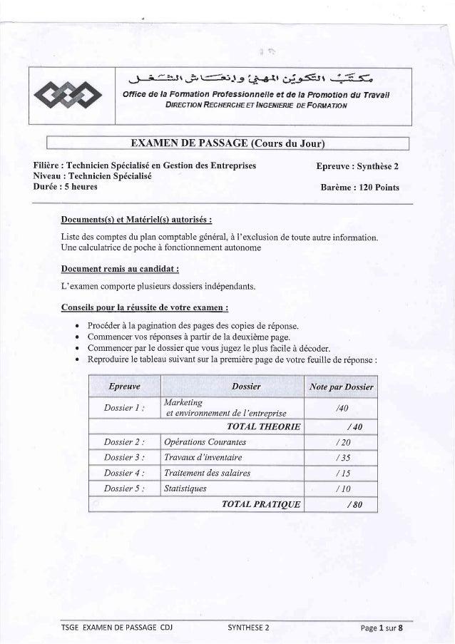 Examen de passage (cours du jour) synthèse 2