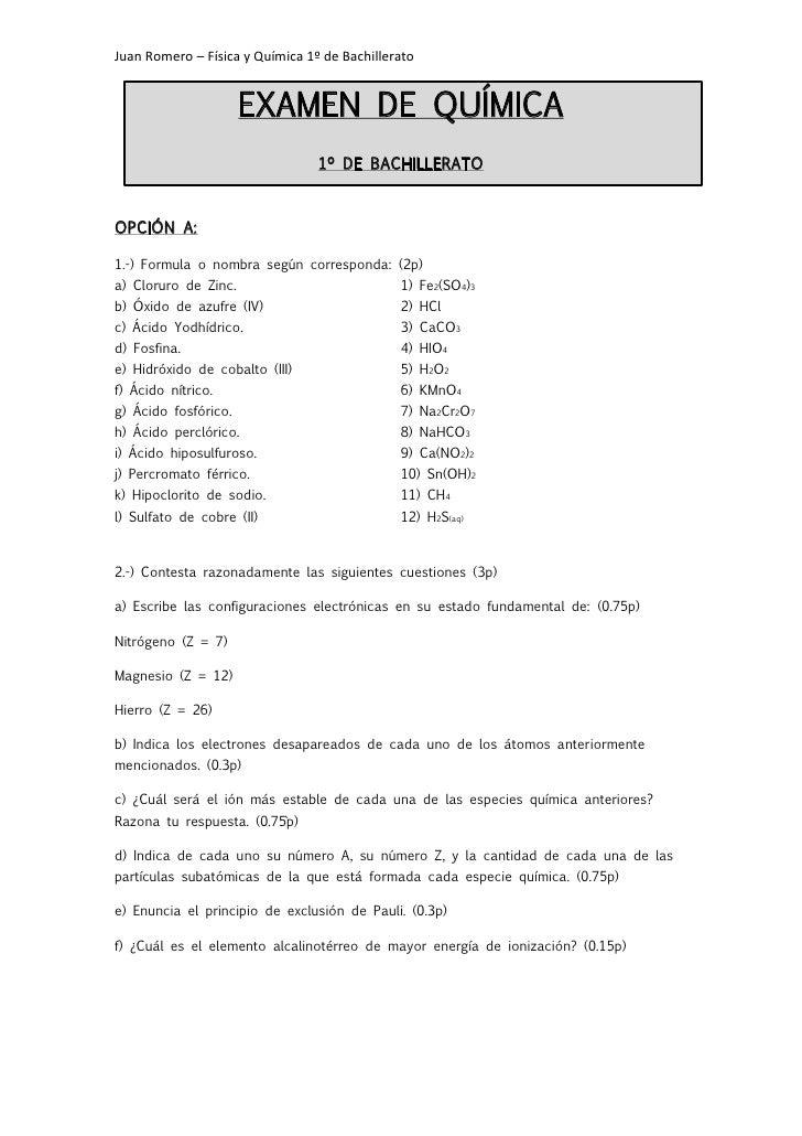 Juan Romero – Física y Química 1º de Bachillerato                      EXAMEN DE QUÍMICA                                 1...