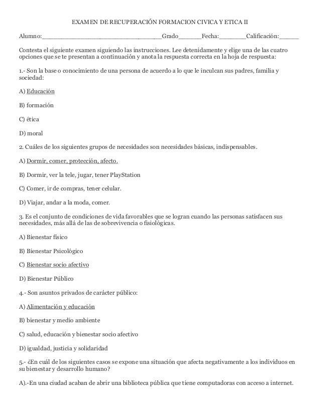 EXAMEN DE RECUPERACIÓN FORMACION CIVICA Y ETICA II Alumno:_______________________________Grado______Fecha:_______Calificac...
