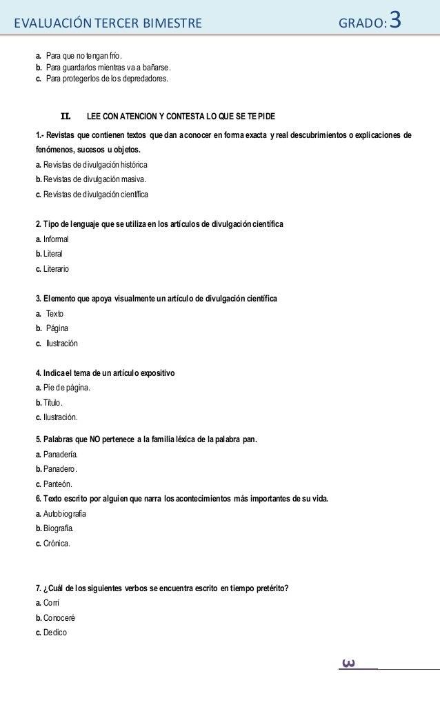 Examen de Tercer Grado Slide 3