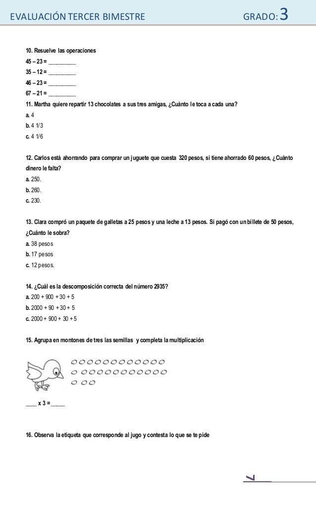 examen de tercer grado