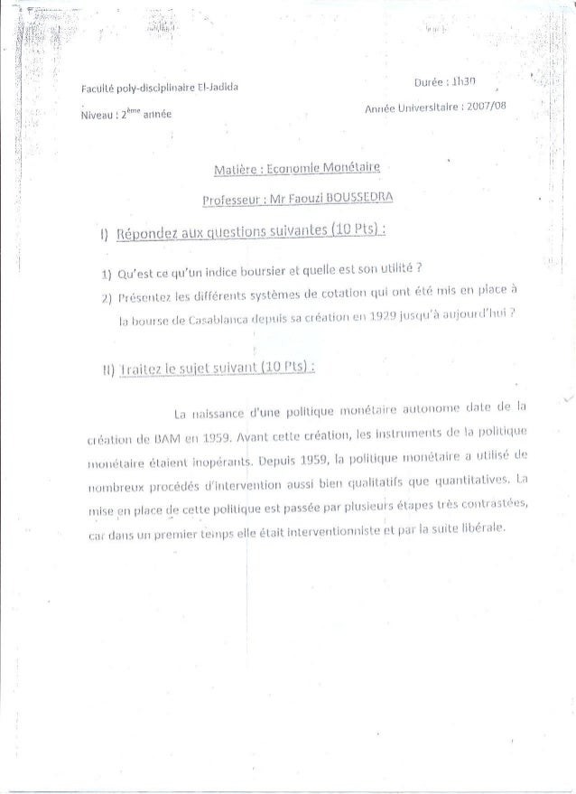 Examen economie monétaire 1