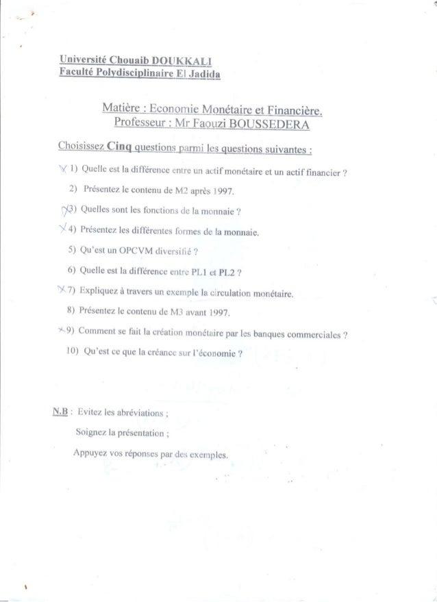 Examen economie monétaire 2