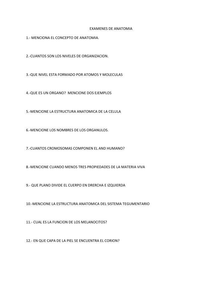 Excepcional Anatomía Y Fisiología 1 Preguntas Del Examen Final ...