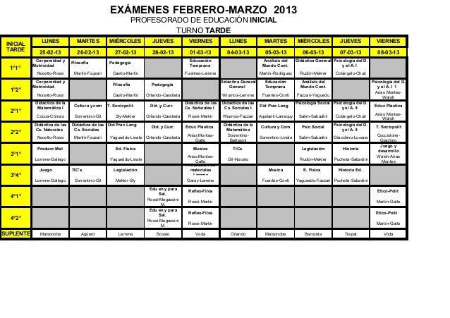 EXÁMENES FEBRERO-MARZO 2013                                                              PROFESORADO DE EDUCACIÓN INICIAL ...