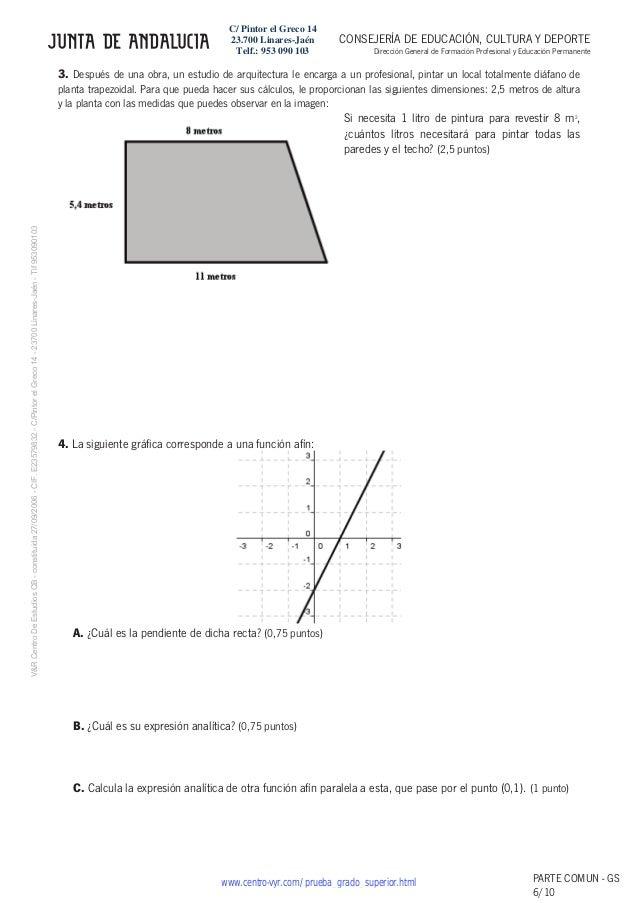 Examenes matematicas grado superior andalucia for Grado superior arquitectura