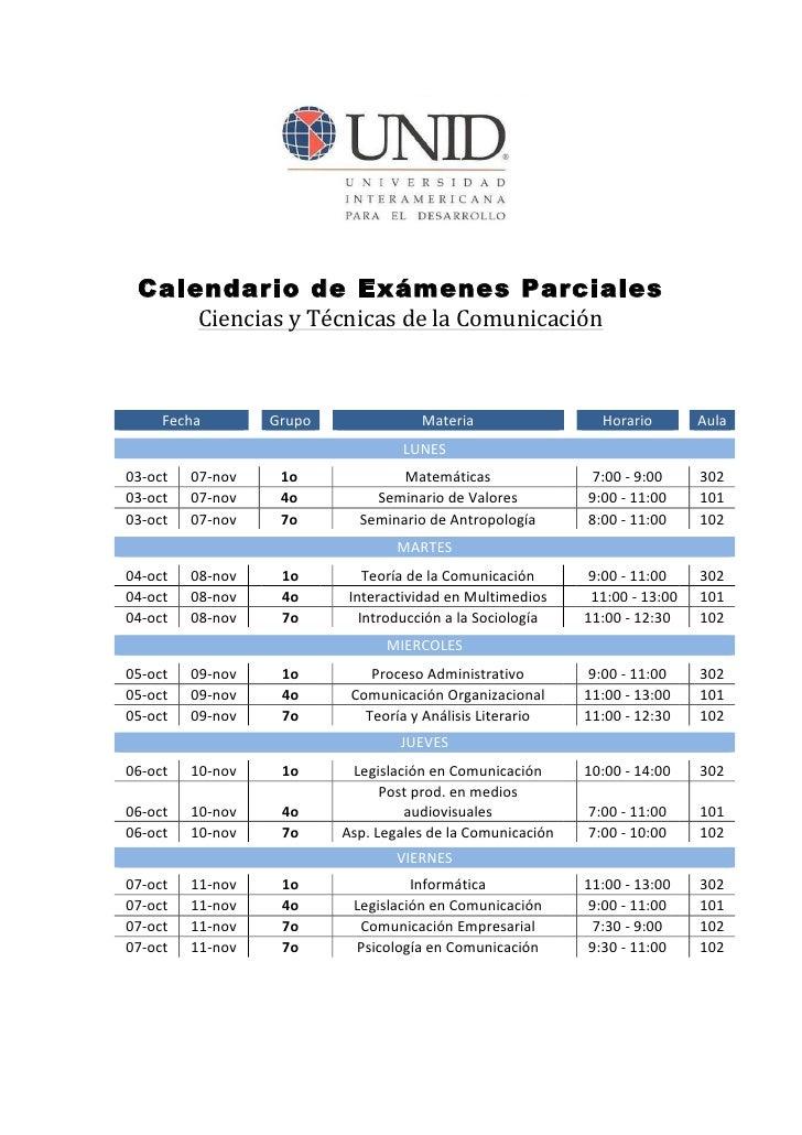 Calendario de Exámenes Parciales              Ciencias y Técnicas de la Comunicación                          ...