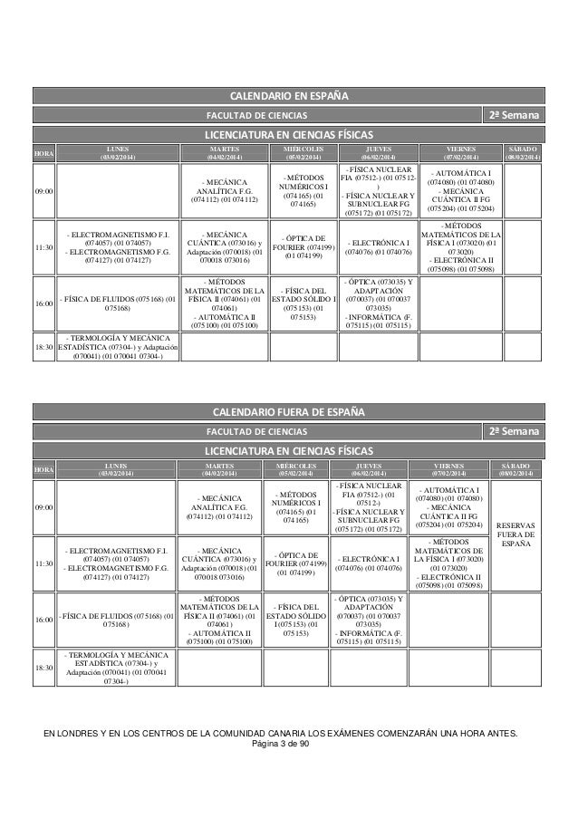 Uned Calendario Examenes.Examenes Uned Febrero 2014