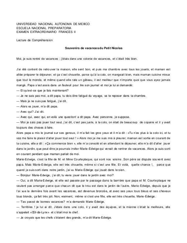 UNIVERSIDAD NACIONAL AUTONOMA DE MEXICO ESCUELA NACIONAL PREPARATORIA EXAMEN EXTRAORDINARIO FRANCES II Lecture de Compréhe...