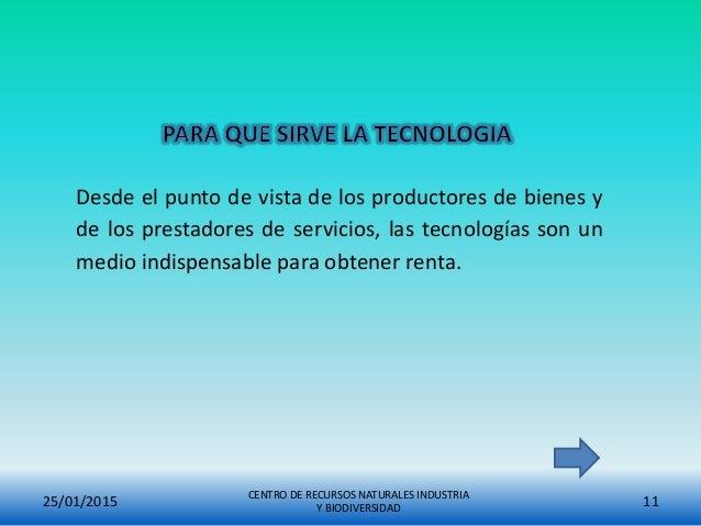 CENTRO DE RECURSOS NATURALES INDUSTRIA Y BIODIVERSIDAD 1125/01/2015 Desde el punto de vista de los productores de bienes y...