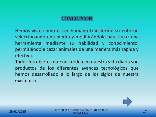 25/01/2015 CENTRO DE RECURSOS NATURALES INDUSTRIA Y BIODIVERSIDAD 17 Hemos visto como el ser humano transformó su entorno ...