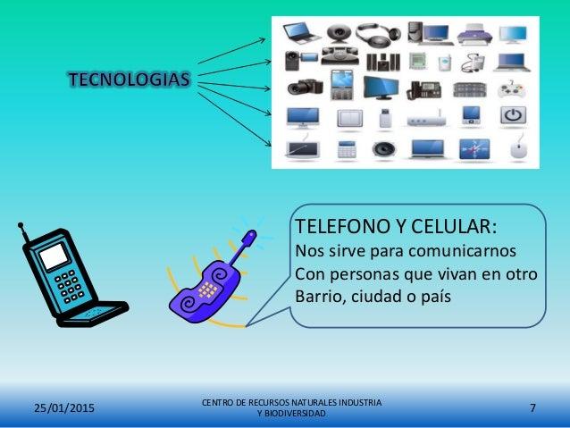 25/01/2015 CENTRO DE RECURSOS NATURALES INDUSTRIA Y BIODIVERSIDAD 7 TELEFONO Y CELULAR: Nos sirve para comunicarnos Con pe...