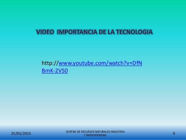 25/01/2015 CENTRO DE RECURSOS NATURALES INDUSTRIA Y BIODIVERSIDAD 9 http://www.youtube.com/watch?v=DfN BmK-2VS0