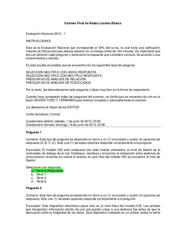 Examen Final de Redes Locales BásicoEvaluación Nacional 2013 - 1INSTRUCCIONESEsta es la Evaluación Nacional que correspond...