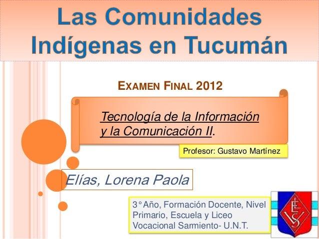 EXAMEN FINAL 2012 Elías, Lorena Paola 3° Año, Formación Docente, Nivel Primario, Escuela y Liceo Vocacional Sarmiento- U.N...