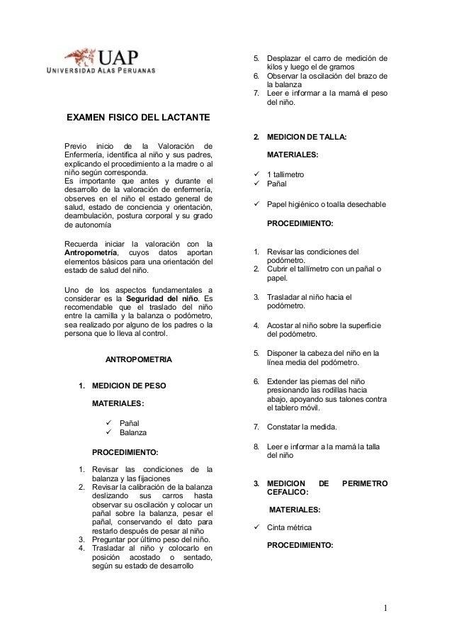 ESCUEEXAMEN FISICO DEL LACTANTEPrevio inicio de la Valoración deEnfermería, identifica al niño y sus padres,explicando el ...