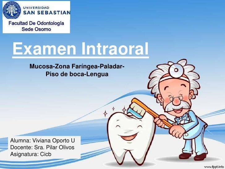 Examen Intraoral       Mucosa-Zona Faríngea-Paladar-           Piso de boca-LenguaAlumna: Viviana Oporto UDocente: Sra. Pi...