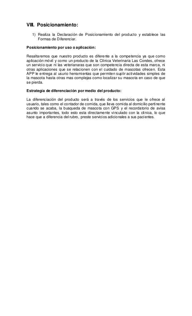 VIII. Posicionamiento: 1) Realiza la Declaración de Posicionamiento del producto y establece las Formas de Diferenciar. Po...