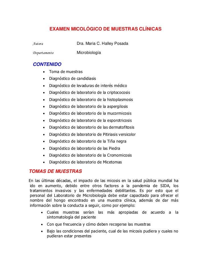 EXAMEN MICOLÓGICO DE MUESTRAS CLÍNICAS  Autora                        Dra. Maria C. Halley Posada  Departamento           ...