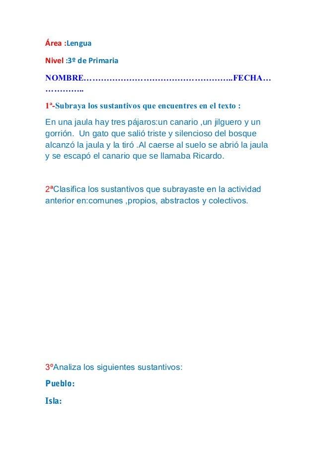 Examen Lengua 3º de Primaria Slide 2