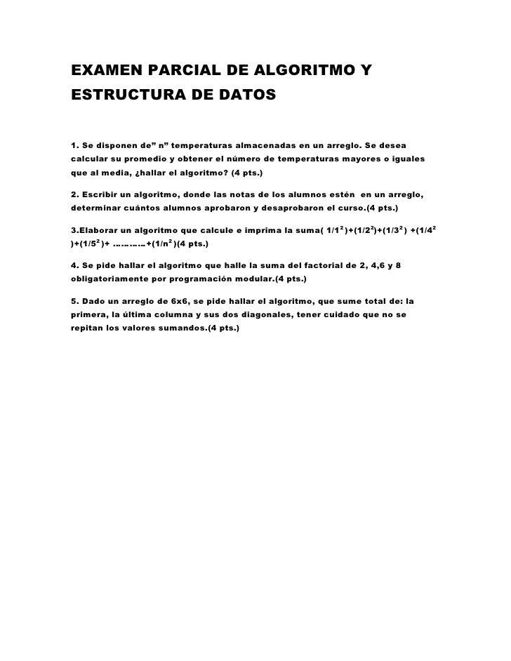 """EXAMEN PARCIAL DE ALGORITMO Y ESTRUCTURA DE DATOS<br />1. Se disponen de"""" n"""" temperaturas almacenadas en un arreglo. Se de..."""
