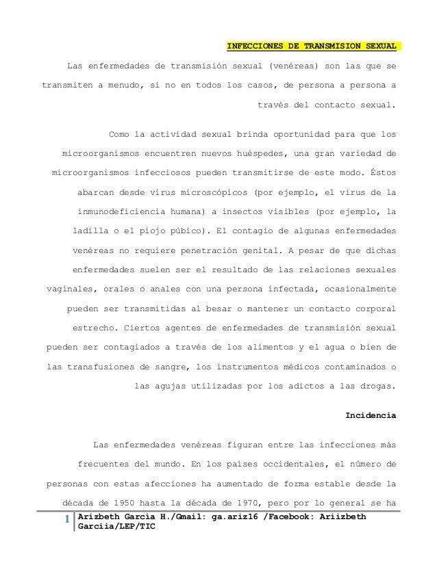 1 Arizbeth García H./Gmail: ga.ariz16 /Facebook: Ariizbeth Garciia/LEP/TIC INFECCIONES DE TRANSMISION SEXUAL Las enfermeda...