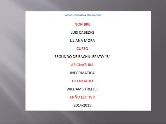 "UNIDAD EDUCATIVA SAN JOAQUIN  NOMBRE LUIS CABEZAS LILIANA MORA CURSO SEGUNDO DE BACHILLERATO ""B"" ASIGNATURA INFORMATICA LI..."