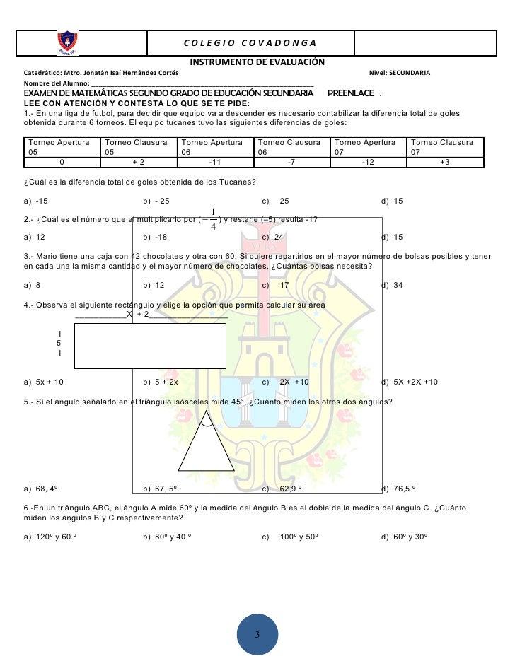 COLEGIO COVADONGA                                              INSTRUMENTO DE EVALUACIÓNCatedrático: Mtro. Jonatán Isaí He...