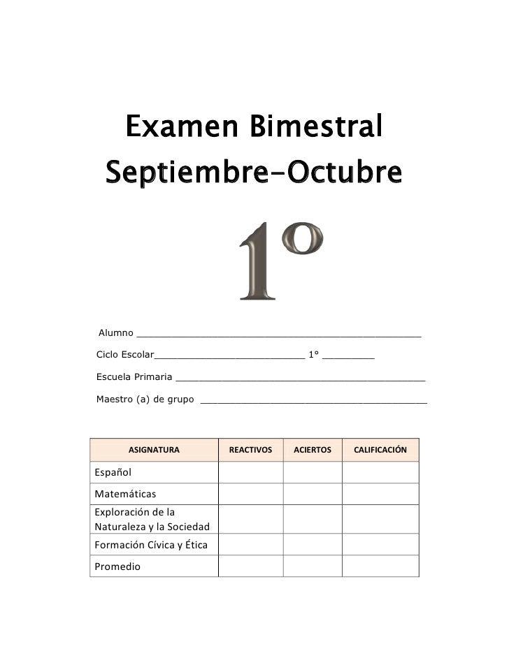 Examen Bimestral<br />Septiembre-Octubre<br />251523566040<br />        Alumno ___________________________________________...