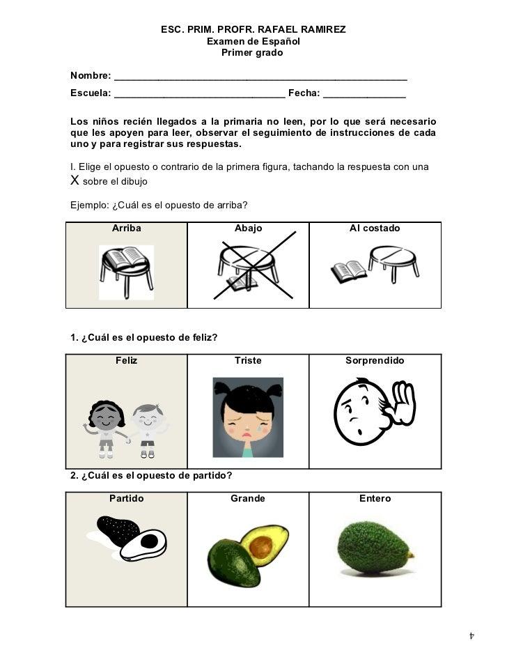 ESC. PRIM. PROFR. RAFAEL RAMIREZ                            Examen de Español                                Primer gradoN...