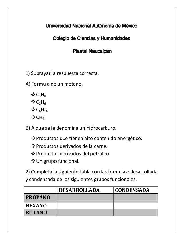 Universidad Nacional Autónoma de MéxicoColegio de Ciencias y HumanidadesPlantel Naucalpan1) Subrayar la respuesta correcta...